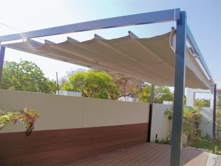 retractable awnings non motorised is great for a poolside deck Wakis Ave