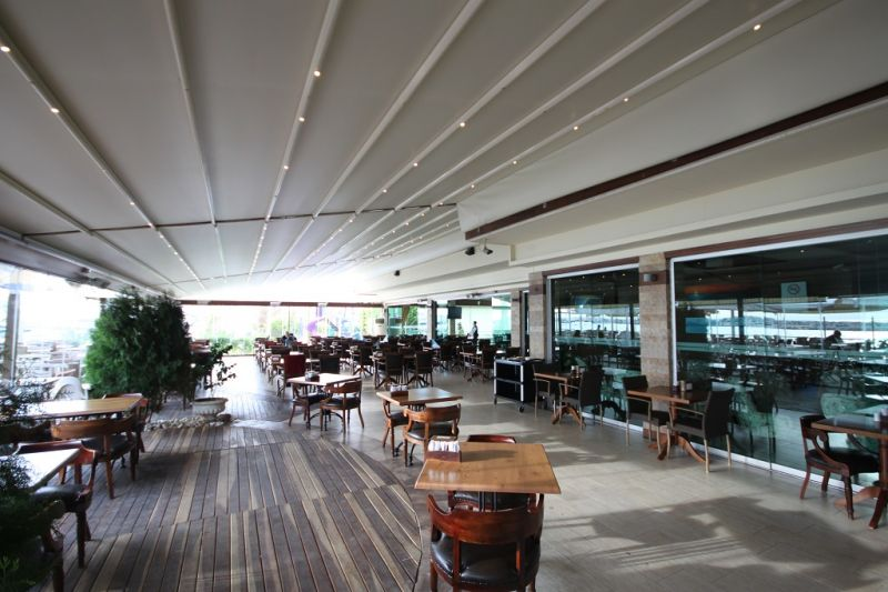 Retractable Awning to enhance any common area, walkway or restaurant