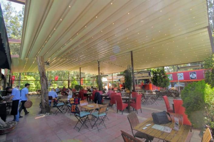 Retractable Awnings for an outdoor seated area
